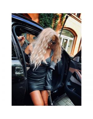 BLACKY MOOD - czarna sukienka marszczona z eco skóry